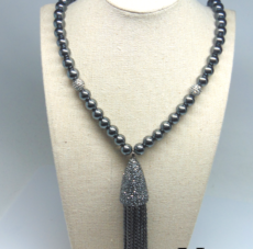 Hematite and CZ Pave beads and Tassel