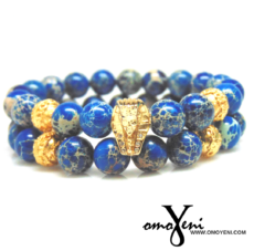 Blue Imperial Jasper beads with Gold Pharaoh Head