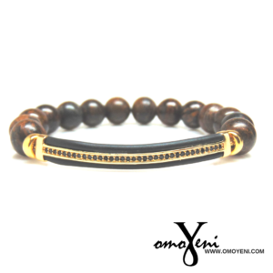 Bronzite Beads and Black and Gold Bar Bracelet