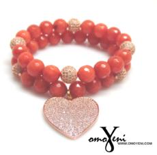 Agate Terra Cotta Beads Heart Charm Bracelet