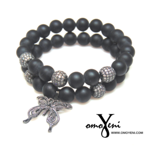 Matte black CZ gunmetal pave beads and Gunmetal Butterfly