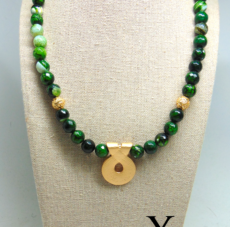 Green Agate Beads with Gold Tribal Pendant