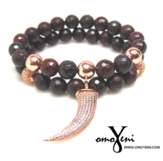 Dark Maroon Beads accented with Rose Gold beads
