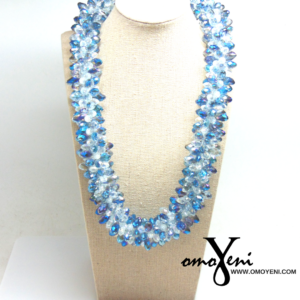 Sky Blue Braided Chinese Crystal Necklace
