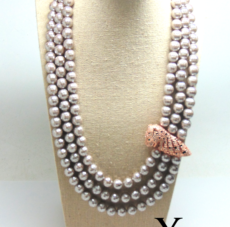 Triple Strand Mother of Pearl Necklace