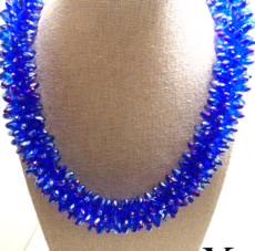 Blue Braided Chinese Crystal Necklace