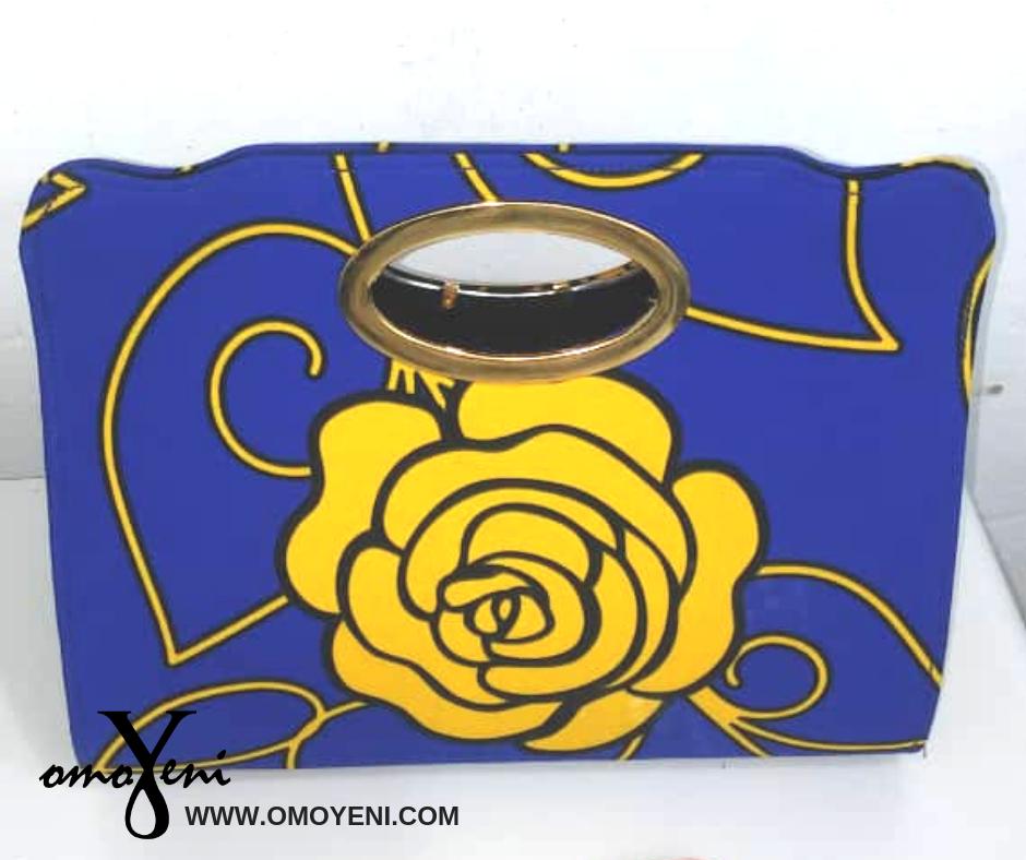 Ankara Royal Blue and Yellow Rose Tote Bag