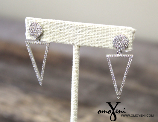 Silver CZ Pushback earrings