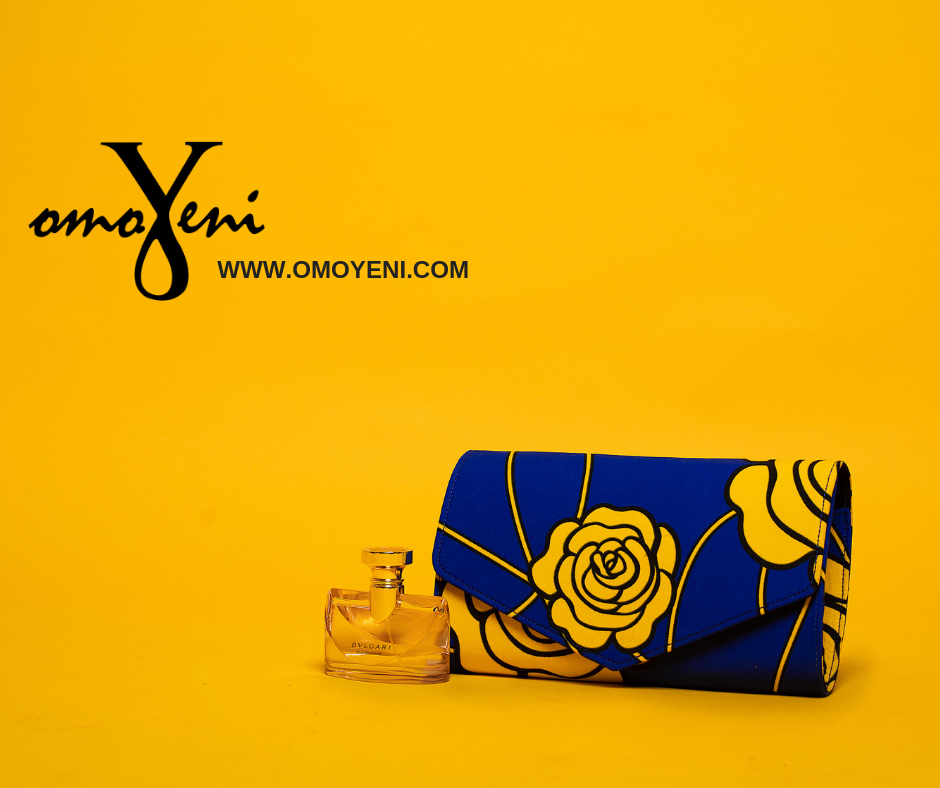 Royal Blue and Yellow Rose Ankara Clutch