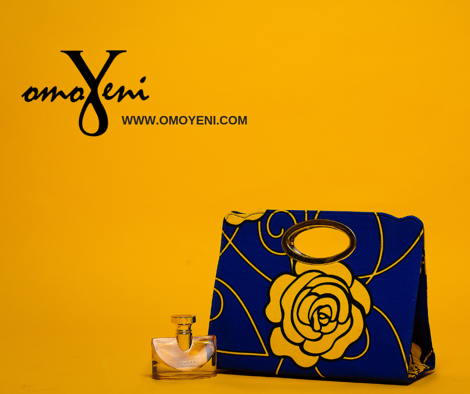 Ankara Royal Blue and Yellow Rose Tote Bag