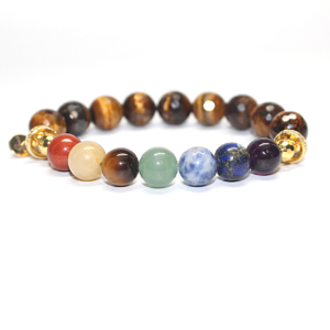 Chakra Beads with Faceted Tiger eye beads