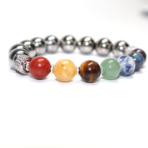 Chakra Beads with Silver Hematite beads