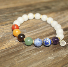Chakra Beads with Dyed White Jade beads